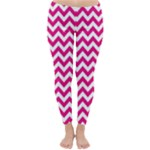 Hot Pink & White Zigzag Pattern Winter Leggings