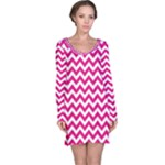 Hot Pink & White Zigzag Pattern Long Sleeve Nightdress