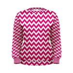 Hot Pink & White Zigzag Pattern Women s Sweatshirt