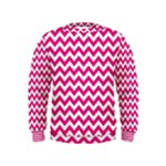 Hot Pink & White Zigzag Pattern Kids  Sweatshirt