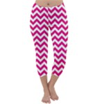 Hot Pink & White Zigzag Pattern Capri Winter Leggings