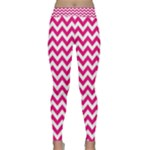 Hot Pink & White Zigzag Pattern Yoga Leggings