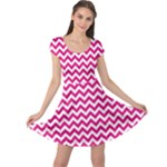 Hot Pink & White Zigzag Pattern Cap Sleeve Dresses