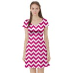 Hot Pink & White Zigzag Pattern Short Sleeve Skater Dress