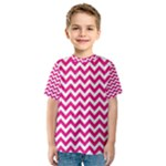 Hot Pink & White Zigzag Pattern Kid s Sport Mesh Tee