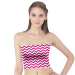 Hot Pink & White Zigzag Pattern Tube Top