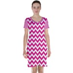 Hot Pink & White Zigzag Pattern Short Sleeve Nightdress