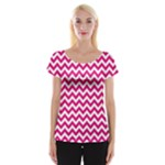 Hot Pink & White Zigzag Pattern Women s Cap Sleeve Top