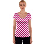 Hot Pink & White Zigzag Pattern Women s V-Neck Cap Sleeve Top