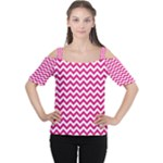 Hot Pink & White Zigzag Pattern Women s Cutout Shoulder Tee