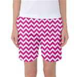 Hot Pink & White Zigzag Pattern Women s Basketball Shorts