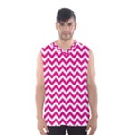 Hot Pink & White Zigzag Pattern Men s Basketball Tank Top