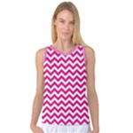 Hot Pink & White Zigzag Pattern Women s Basketball Tank Top