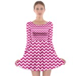 Hot Pink & White Zigzag Pattern Long Sleeve Skater Dress