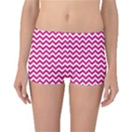 Hot Pink & White Zigzag Pattern Boyleg Bikini Bottoms