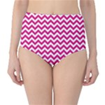 Hot Pink & White Zigzag Pattern High-Waist Bikini Bottoms