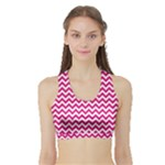 Hot Pink & White Zigzag Pattern Women s Sports Bra with Border