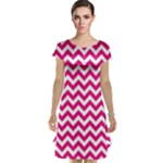 Hot Pink & White Zigzag Pattern Cap Sleeve Nightdress