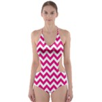Hot Pink & White Zigzag Pattern Cut-Out One Piece Swimsuit