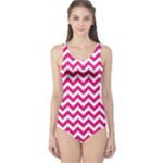 Hot Pink & White Zigzag Pattern One Piece Swimsuit