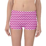 Hot Pink & White Zigzag Pattern Reversible Boyleg Bikini Bottoms