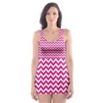 Hot Pink & White Zigzag Pattern Skater Dress Swimsuit