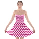 Hot Pink & White Zigzag Pattern Strapless Dresses
