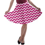 Hot Pink & White Zigzag Pattern A-line Skater Skirt
