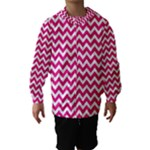 Hot Pink & White Zigzag Pattern Hooded Wind Breaker (Kids)