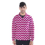 Hot Pink & White Zigzag Pattern Wind Breaker (Men)
