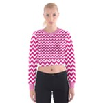 Hot Pink & White Zigzag Pattern Women s Cropped Sweatshirt