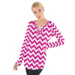 Hot Pink & White Zigzag Pattern Women s Tie Up Tee