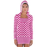 Hot Pink & White Zigzag Pattern Women s Long Sleeve Hooded T-shirt