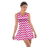 Hot Pink & White Zigzag Pattern Racerback Dresses