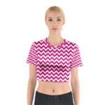 Hot Pink & White Zigzag Pattern Cotton Crop Top