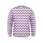 Lilac Purple & White Zigzag Pattern Kids  Sweatshirt