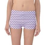 Lilac Purple & White Zigzag Pattern Boyleg Bikini Bottoms