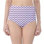 Lilac Purple & White Zigzag Pattern High-Waist Bikini Bottoms