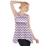 Lilac Purple & White Zigzag Pattern Side Drop Tank Tunic