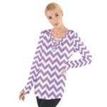 Lilac Purple & White Zigzag Pattern Women s Tie Up Tee