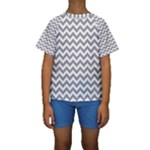Medium Grey & White Zigzag Pattern Kid s Short Sleeve Swimwear