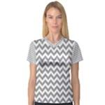 Medium Grey & White Zigzag Pattern Women s V-Neck Sport Mesh Tee