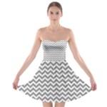 Medium Grey & White Zigzag Pattern Strapless Dresses