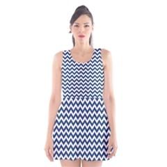 Navy Blue & White Zigzag Pattern Scoop Neck Skater Dress by Zandiepants