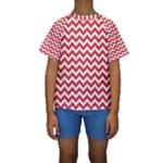 Poppy Red & White Zigzag Pattern Kid s Short Sleeve Swimwear