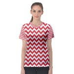 Poppy Red & White Zigzag Pattern Women s Sport Mesh Tee