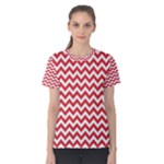Poppy Red & White Zigzag Pattern Women s Cotton Tee