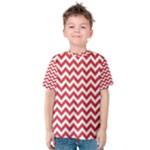 Poppy Red & White Zigzag Pattern Kid s Cotton Tee