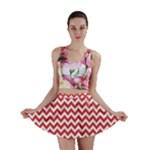 Poppy Red & White Zigzag Pattern Mini Skirt