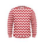 Poppy Red & White Zigzag Pattern Kids  Sweatshirt